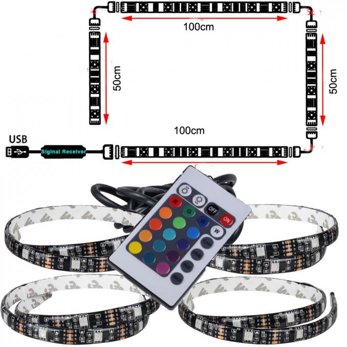 USB Powered RGB Changing Color Led Strip Light 44 key RemoteFor PC Monitor Led Tv Backlight Strip