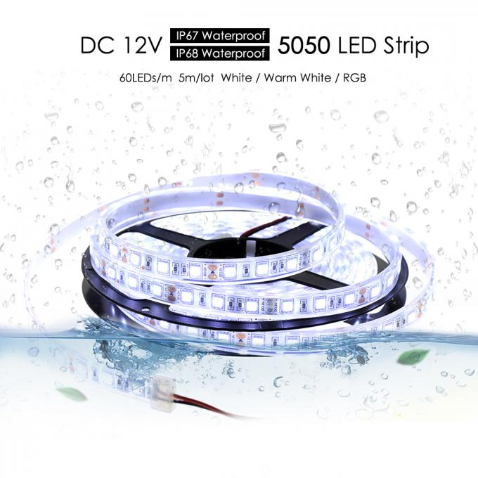 IP67 IP68 Waterproof Flexible 5050 Rgb Led Ribbon Light Strips 60 LED/M