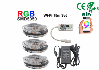 China 15m Non Waterproof +Wifi Rgb 5050 Smd Led Strip With 12V Power supplier