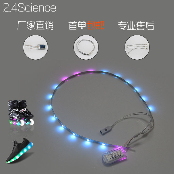 Waterproof 1Pair LED Light Strips For Shoes USB Charging Rechargeable Battery 3V